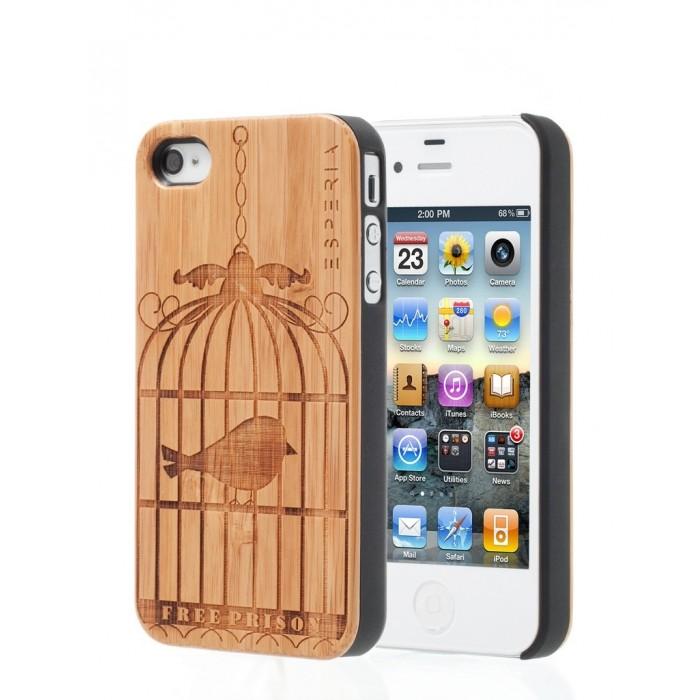 Dřevěný kryt ESPERIA ECLAT Bird Bambus na iPhone 4 4S d391efa96a2