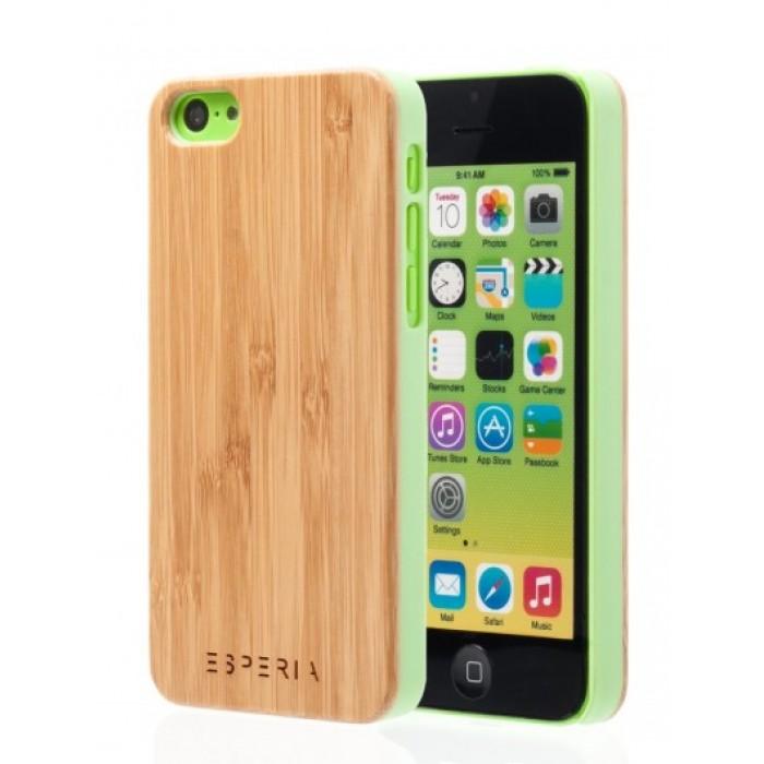 Dřevěný kryt ESPERIA ECLAT WHITE Bambus na zelený iPhone 5C 94c9536e9a3